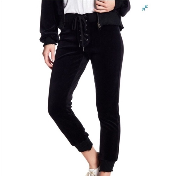 Pam & Gela Pants - Pam & Gela Velour Lace Up Cropped Joggers